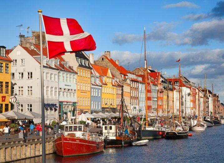 Boats line the harbour in Copenhagen.