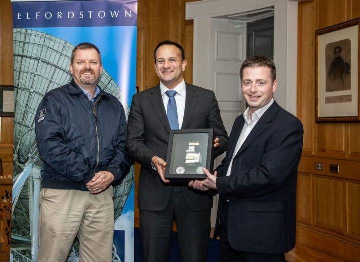 Bruce Hannah, CTO, National Space Centre; An Taoiseach Leo Varadkar, TD; and Ian Kiely, COO, Drone Consultants Ireland holding the award.