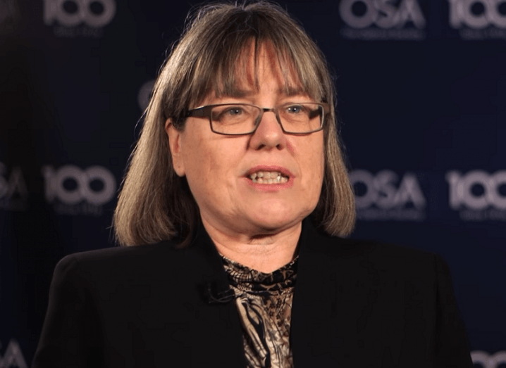 Canadian physicist Donna Strickland speaking.