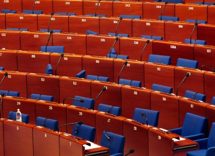 Picture of empty seats at European Parliament in Strasbourg.