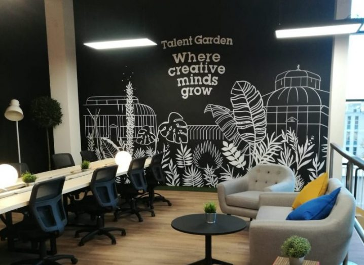 Section of the new Talent Garden facility at DCU, featuring colourful seating and hotdesks.