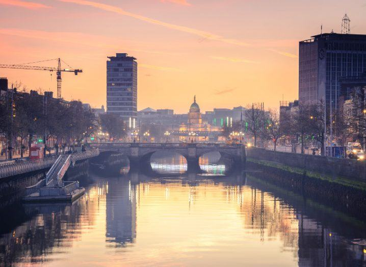 View of Dublin's O'Connell bridge from the Liffey.