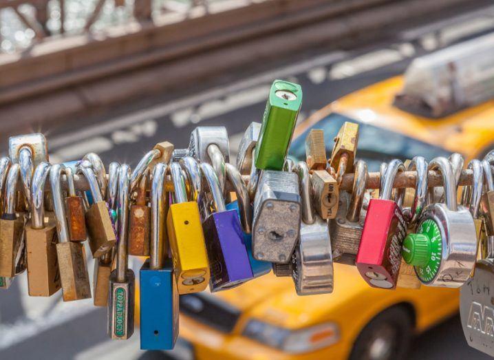 Shiny love locks on Brooklyn bridge in New York City, USA.