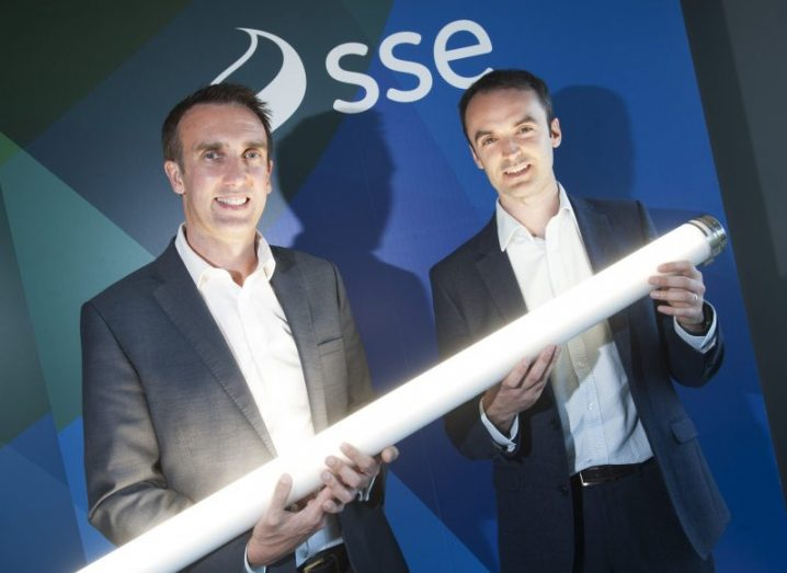 From left: Stephen Gallagher, director of business energy at SSE Airtricity and John Keohane, CEO, Verde LED, holding an LED light.