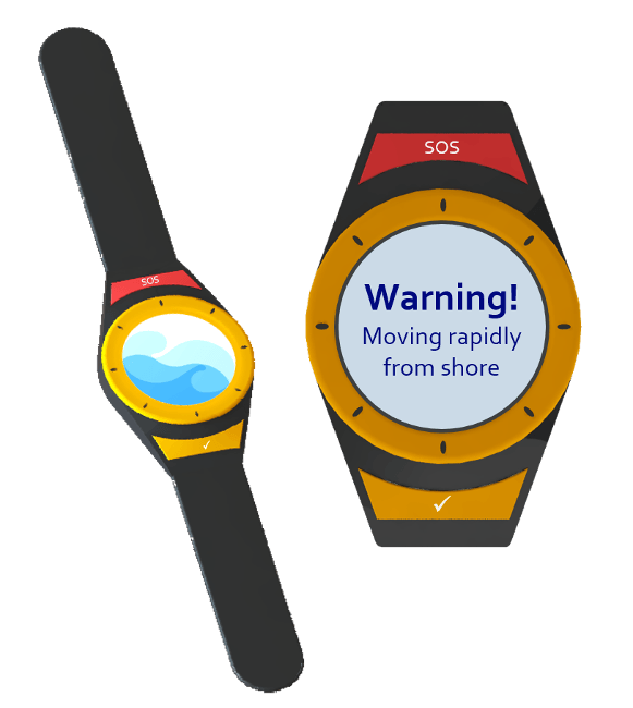 animation of seabeacon equipment including a watch and a close-up of the watch face with a warning sign displayed on it.