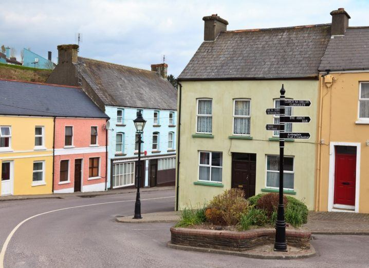 Colorful houses in a West Cork village, Ireland.