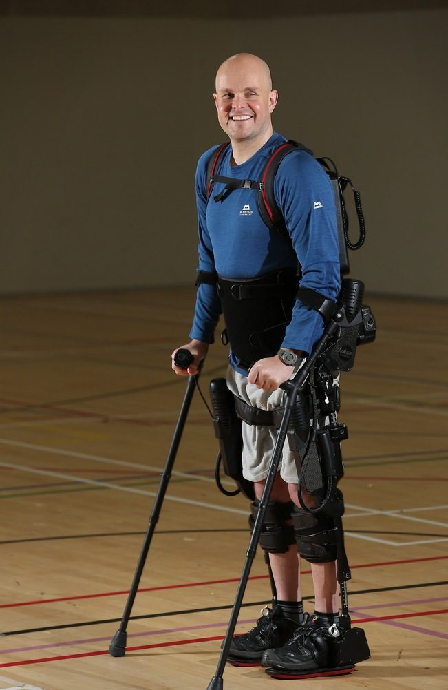 Mark Pollock using his Ekso Bionics exoskeleton, he is able to stand.