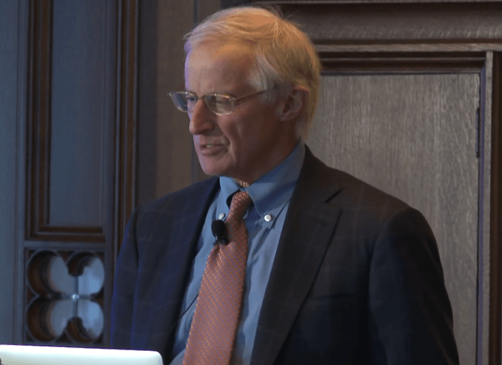 Nobel laureate William Nordhaus giving a keynote talk.