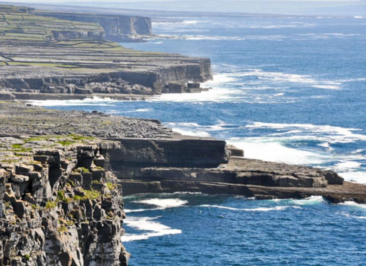 View of cliffs on Aran Islands.