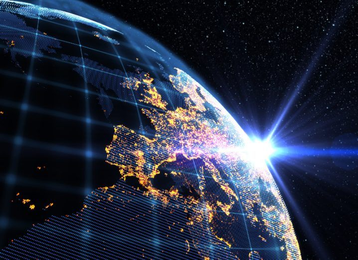 A satellite picture of Europe showing lit-up cities.