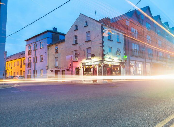 lights flash across a typical Irish town high street.