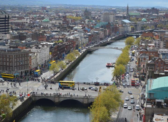 An aerial view of Dublin's O'Connell Bridge.