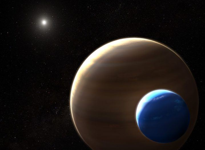 Illustration of Kepler-1625b and its Neptune-like exomoon.