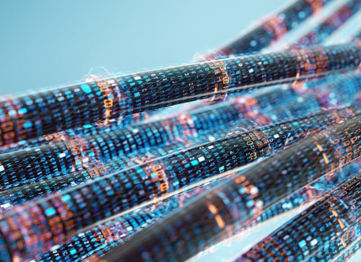 Image of data pipes jammed with digital data.
