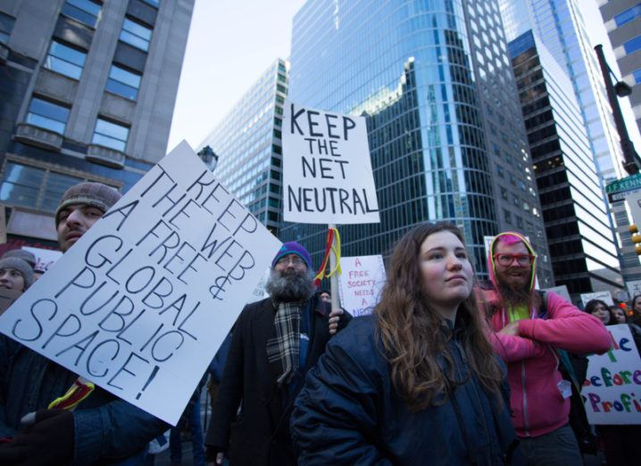 Protesters against US government move to quash net neutrality on the streets of Philadelphia.