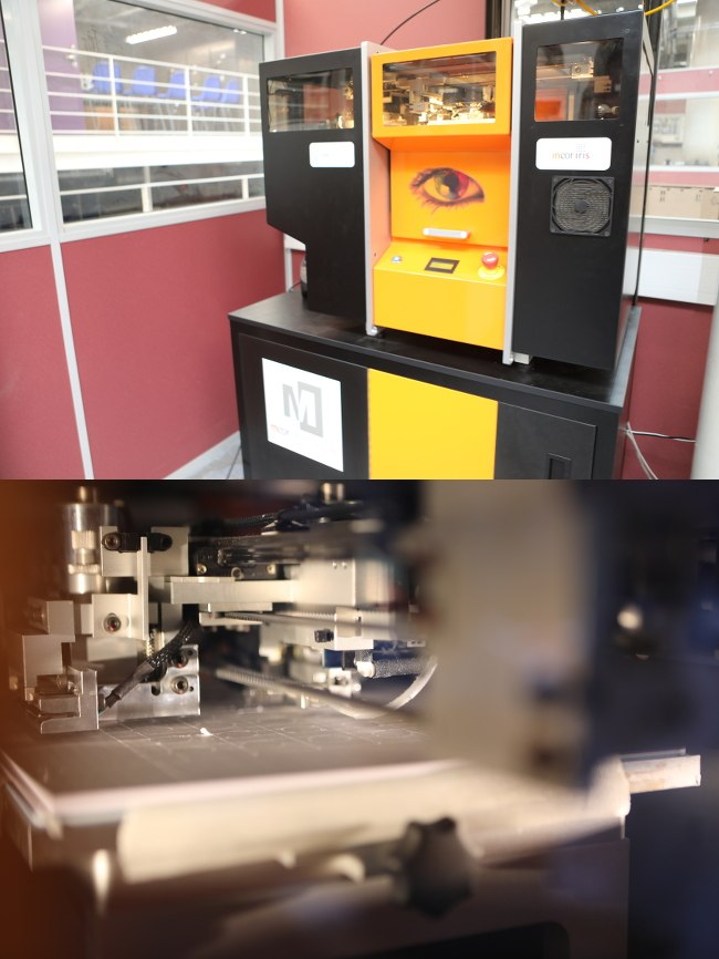 Split-screen of a large 3D printing machine and inside the machinery at work.