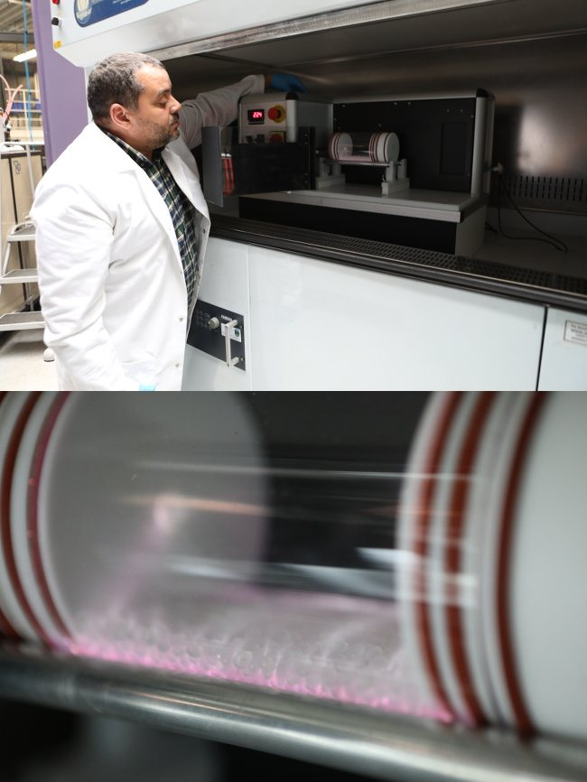 Split-screen of a scientist operating a large machine and inside the machine is a clear cylindrical container of material undergoing treatment.
