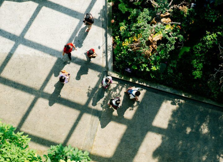 Image of students from above from view of a drone.