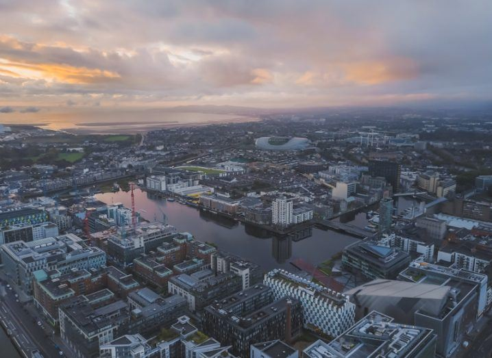 Aerial view of Dublin's docklands area.