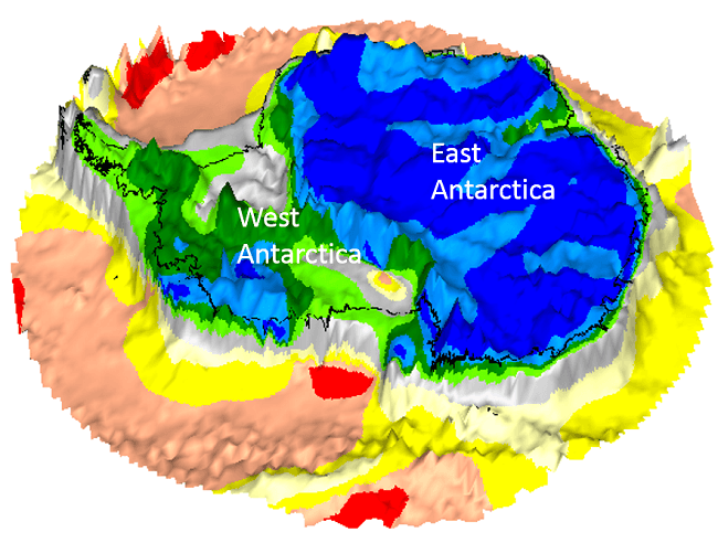 A geological map of Antarctica with blue, red, yellow and green colours.