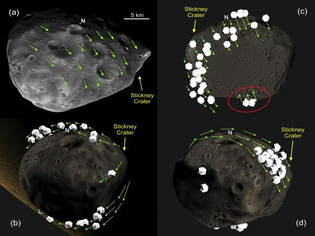 Computer simulations of how boulders would move on the surface of Phobos.