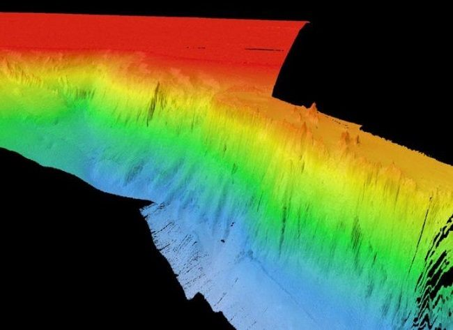 A rainbow-coloured 3D rendering of the Porcupine Bank Canyon.