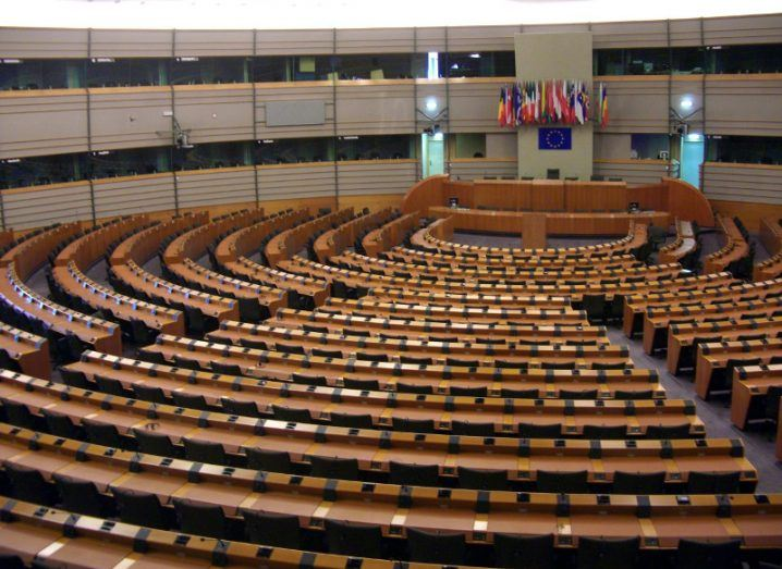 Empty seats in European Parliament, Brussels.