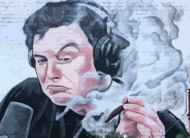 Illustration on a white wall of Elon Musk smoking weed on the Joe Rogan Experience podcast.