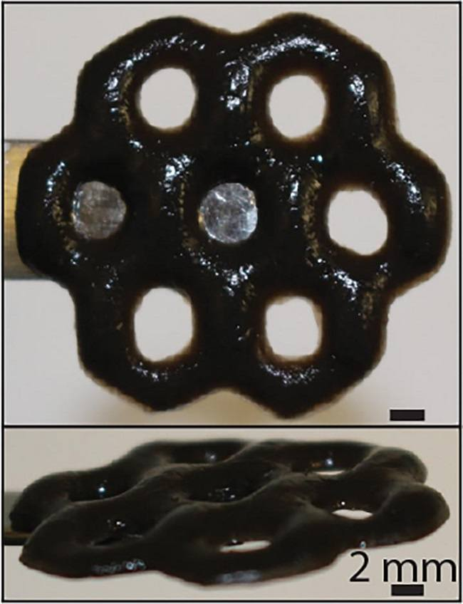 Multi-holed black structure made from graphene oxide and alginate.