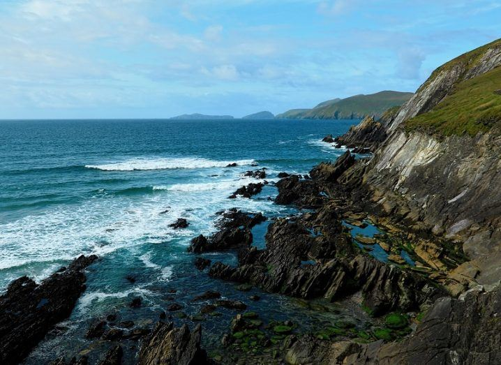 Rugged Irish coastline overlooking the Atlantic Ocean.