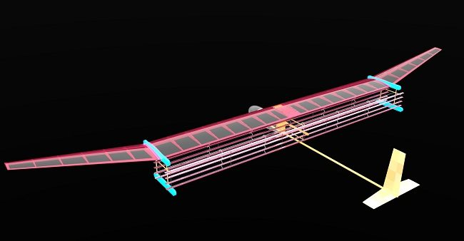 Multi-coloured blueprint of the MIT aircraft design against a black background.