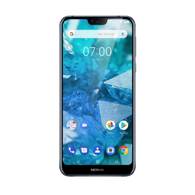 A close-up of the Nokia 7.1 smartphone.
