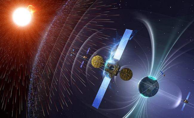Diagram showing intense solar radiation striking a satellite.