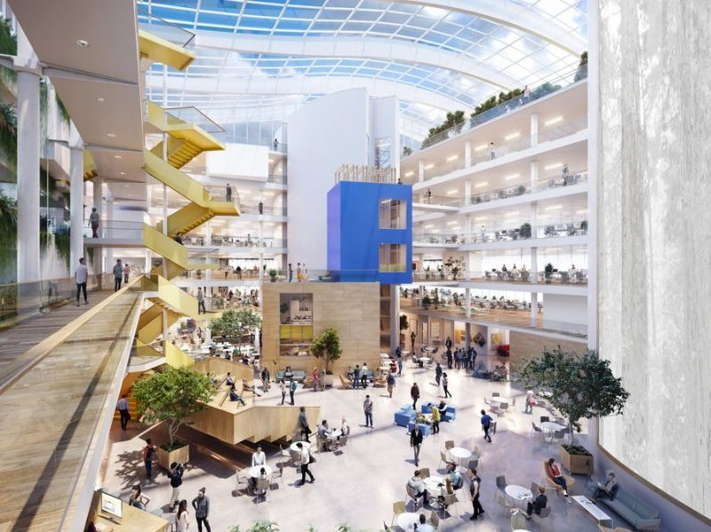 A planned rendering of the new Facebook campus featuring a glass roof and a large atrium.
