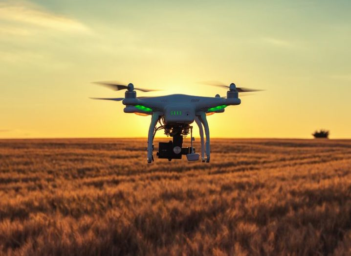 A DJI drone flying over a field of wheat at sunset.