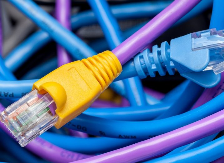 Yellow, purple and blue internet network cables tangled together.