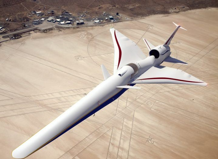 Illustration of the X-59 supersonic jet above NASA's Armstrong Flight Research Center in California.