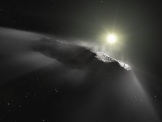 Artist's impression of the large, thin 'Oumuamua object venting gasses as it approaches the sun.