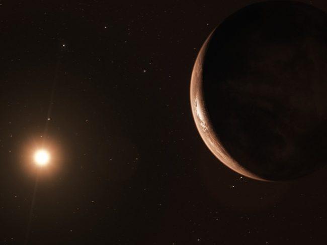 Artist's impression of Barnard star b orbiting its parent star.