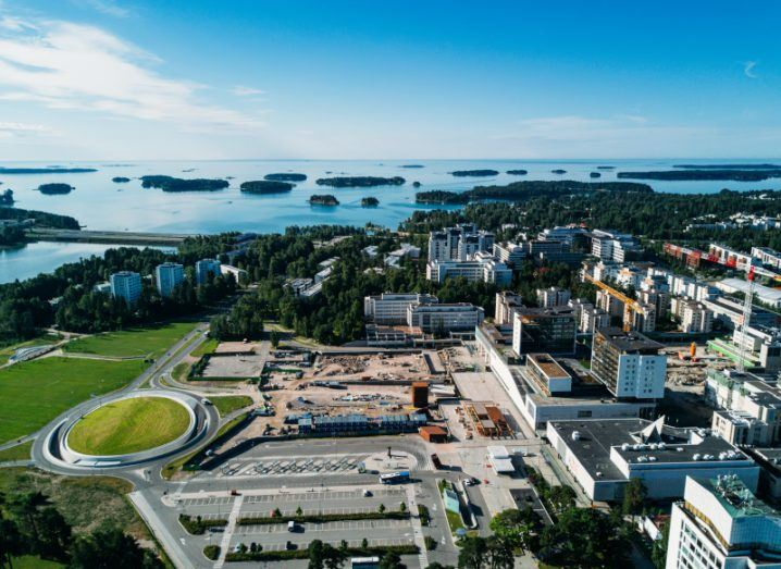 Aerial shot of the city of Espoo looking out onto an archipelago of islands.