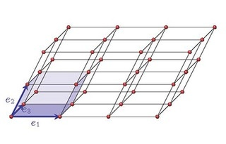 schematic of a lattice with black lines, red dots and a blue cube in the bottom left corner.