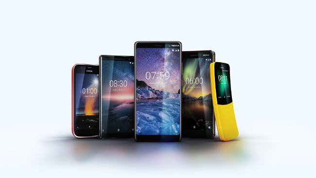 A selection of Nokia smartphones from 2018.