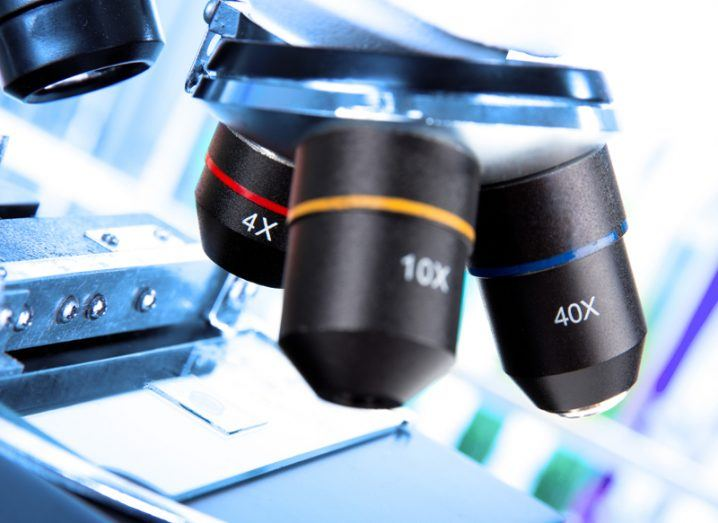 Close up of the lenses of a microscope.