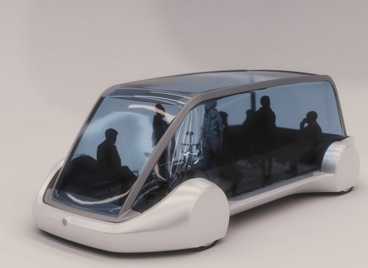 Concept srawing of the all-glass autonomous car to be used in the Boring Company tunnels.