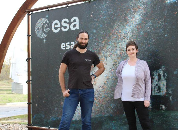 Cillian Murphy and Amy Joyce smiling and standing in front of an ESA sign.