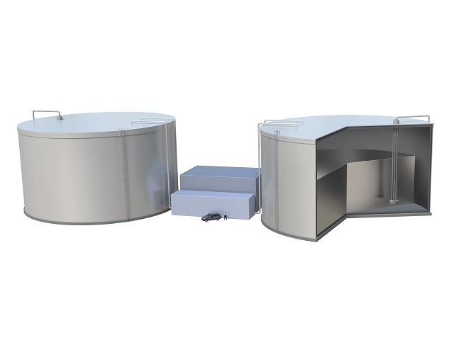 Rendering of a cross-section of two large renewable energy storage tanks.