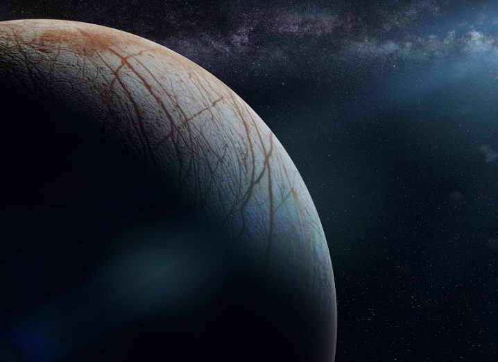 Artist's rendition of the surface, with half lit up by the sun.
