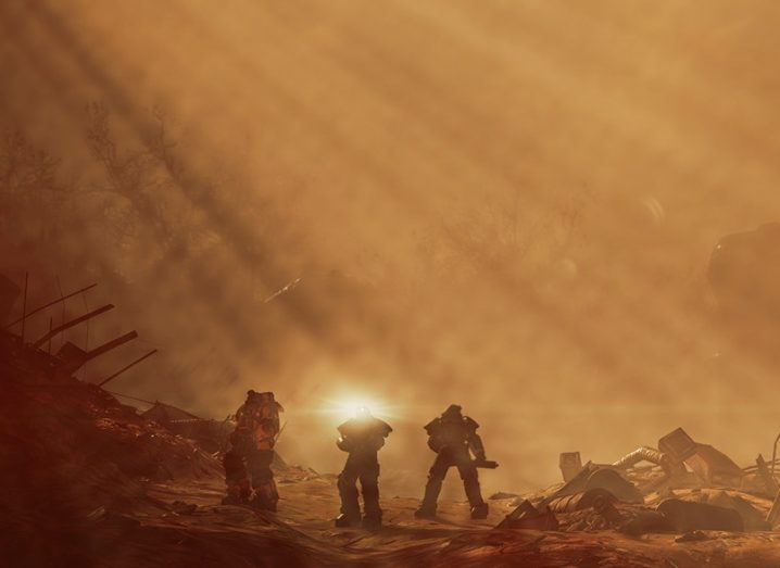 combat scene from video game with hazy yellow background.