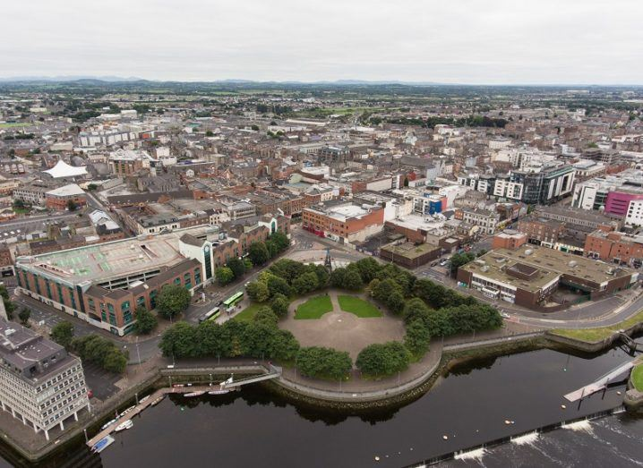 Aerial view cityscape of Limerick city skyline.