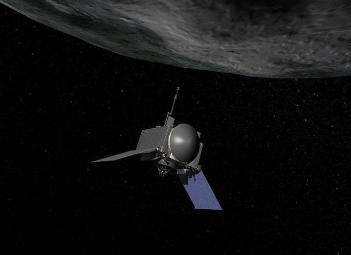 Concept shot of OSIRS-REx orbiting Bennu.